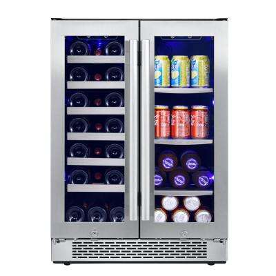 24 in. 21-Bottle and 60-Can Built-In Wine Cooler and Beverage Center Combo