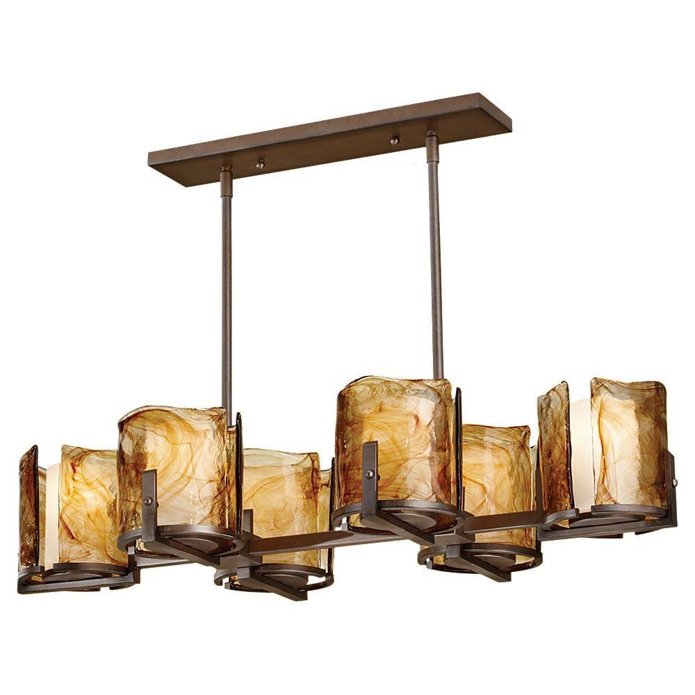 Aris 6-Light Roman Bronze Billiard Chandelier with Glass Shade