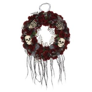 22 in. Wreath with Flowers and Skulls