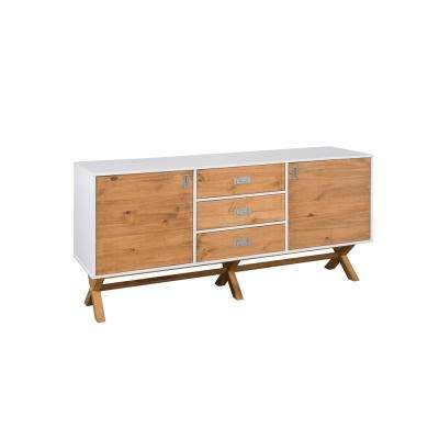 Barclay 66.92 in. White and Natural Wood 3-Drawer Sideboard