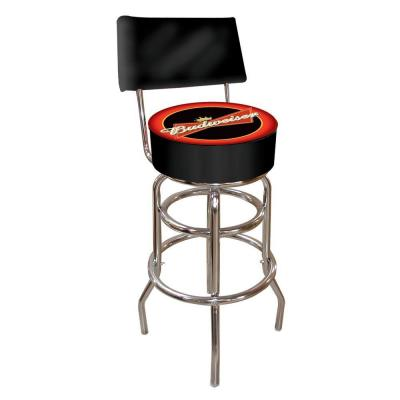 Budweiser Bowtie Red or Black 30 in. Chrome Swivel Cushioned Bar Stool