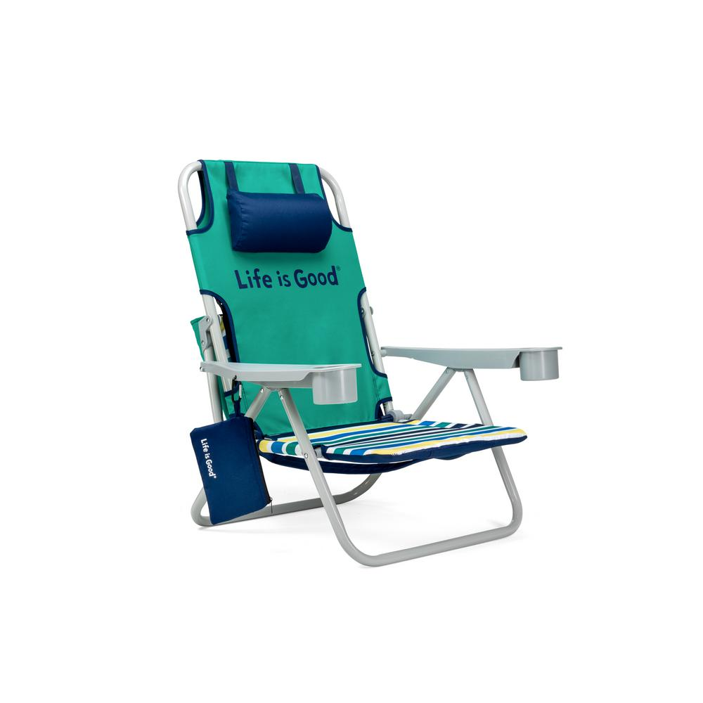 Life Is Good Rocket Green Aluminum Folding And Reclining Beach Chair