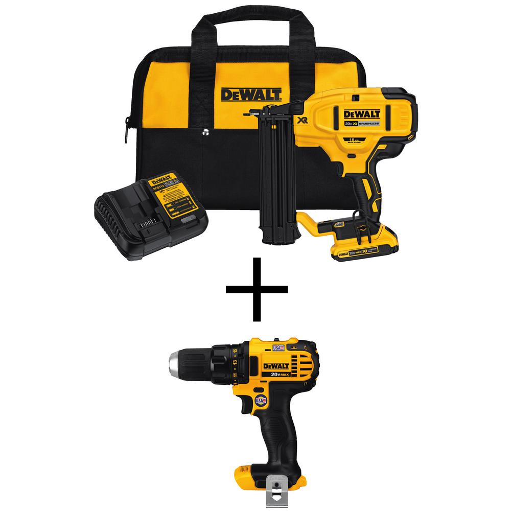 20-Volt Max Lithium-Ion 18-Gauge Cordless Brad Nailer Kit with Bonus Bare