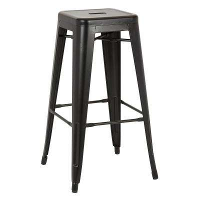 Bristow 30 in. Matte Black Antique Metal Barstool 2-Pack
