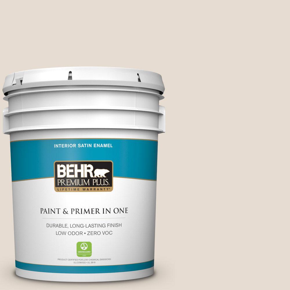 BEHR Premium Plus 5-gal. #W-F-220 Cinnamon Cake Zero VOC Satin Enamel Interior Paint