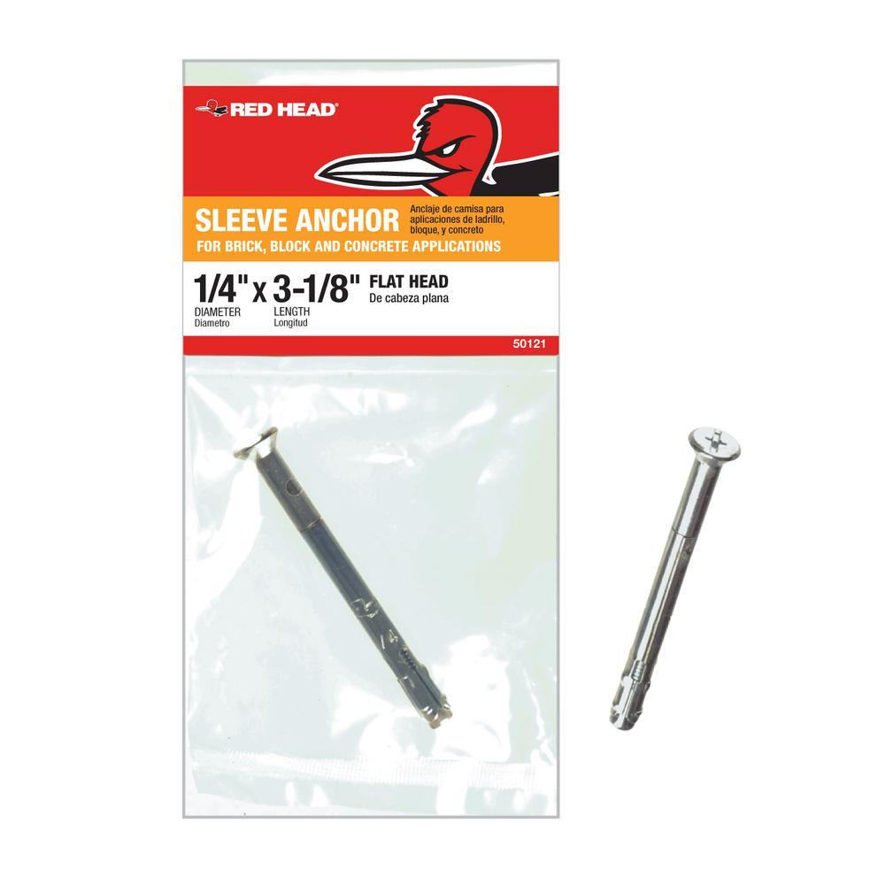 1/4 in. x 3-1/8 in. Zinc Plated Steel Flat Head Sleeve Anchor