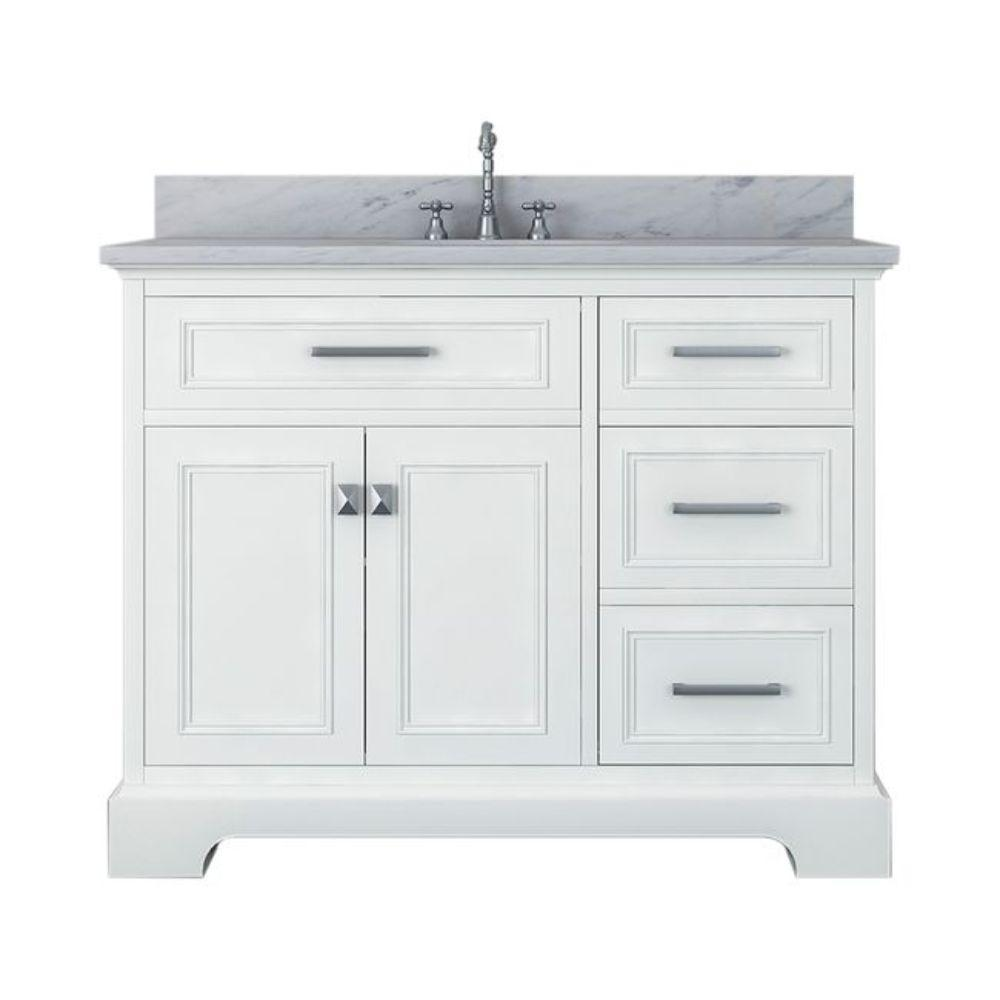 Alya Bath Yorkshire 43 in. W x 22 in. D Bath Vanity in White with Marble Vanity Top in White with White Basin