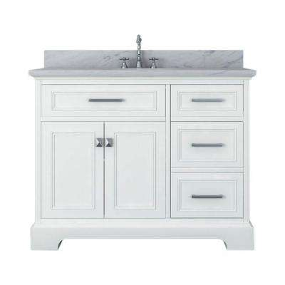 Yorkshire 43 in. W x 22 in. D Bath Vanity in White with Marble Vanity Top in White with White Basin