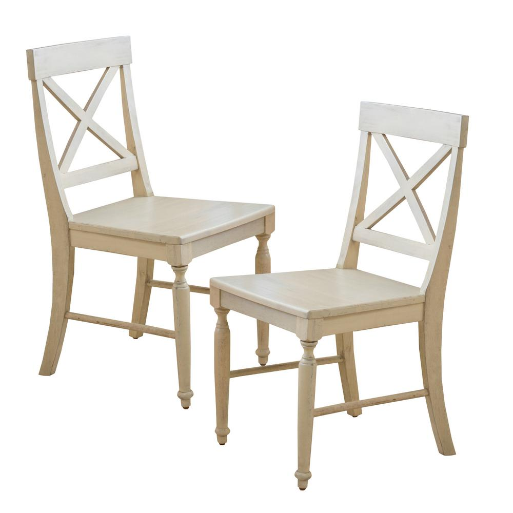 Noble House Rovie Antique White Acacia Wood Dining Chairs