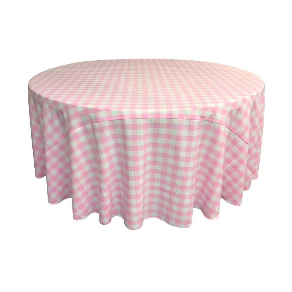 Pink Round Table.108 In White And Pink Polyester Gingham Checkered Round Tablecloth