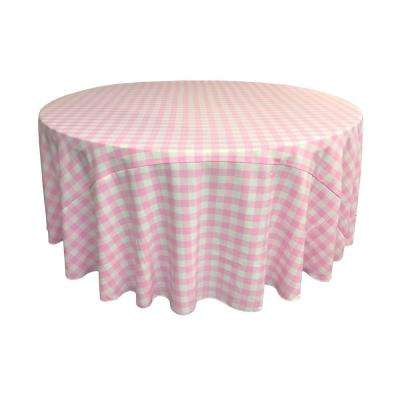 108 in. White and Pink Polyester Gingham Checkered Round Tablecloth