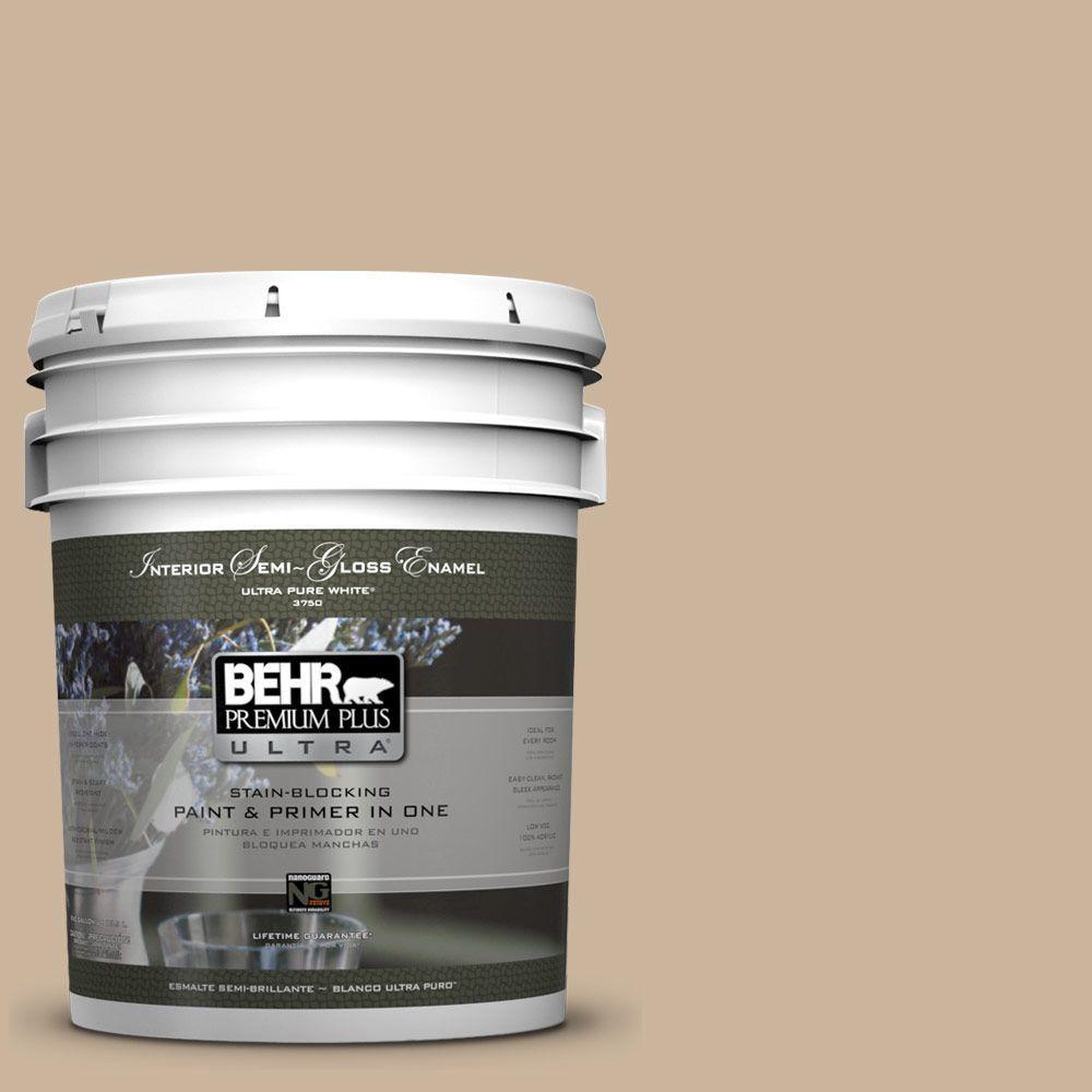 BEHR Premium Plus Ultra 5-gal. #PPU4-7 Mushroom Bisque Semi-Gloss Enamel Interior Paint