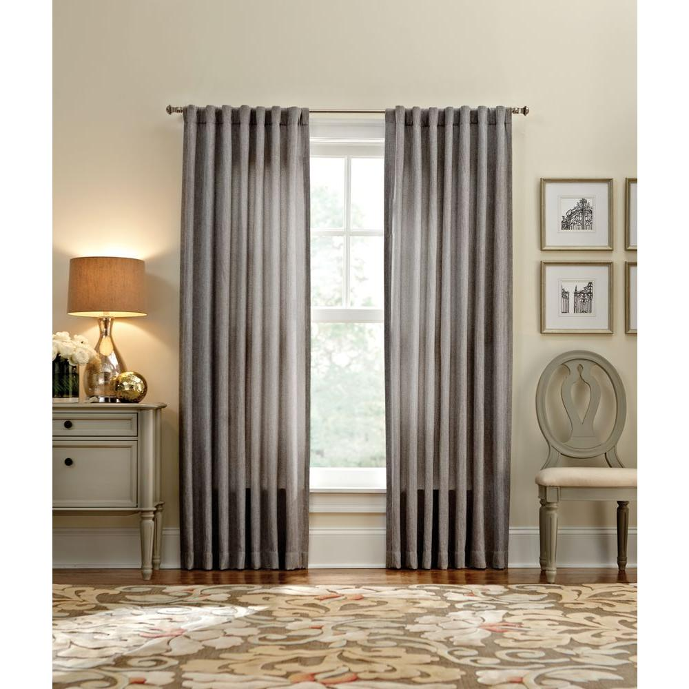 Semi Opaque Zinc Thermal Tweed Back Tab Curtain 50 In W X 95 L