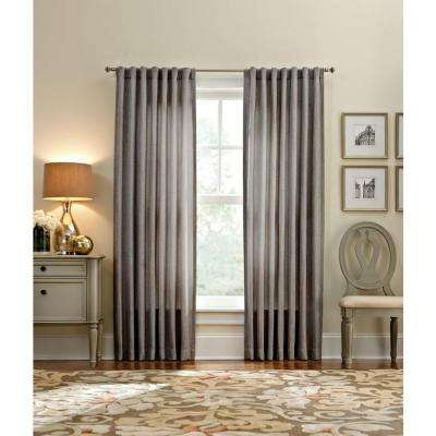 Semi-Opaque Zinc Thermal Tweed Back Tab Curtain - 50 in. W x 95 in. L