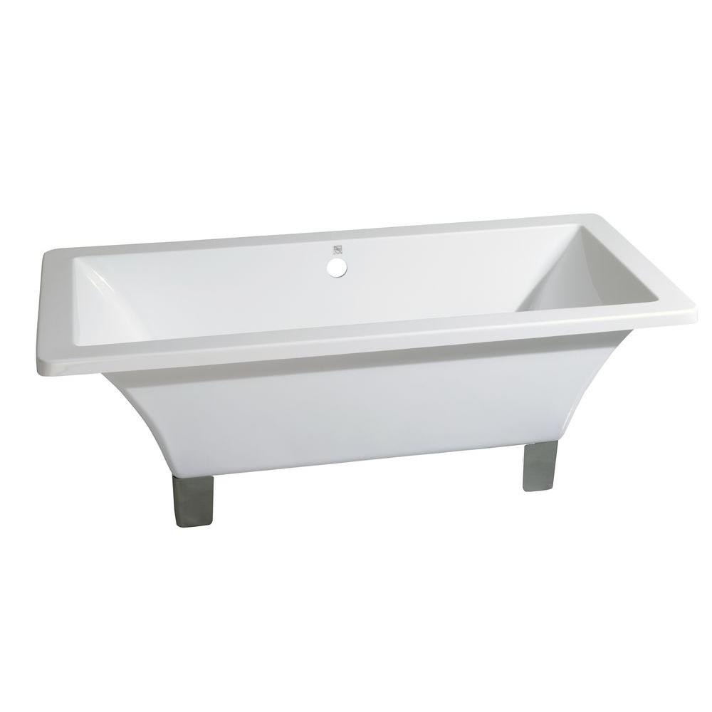 Modern 5.9 Ft. Acrylic Dual Ended Clawfoot Non Whirlpool Bathtub In White