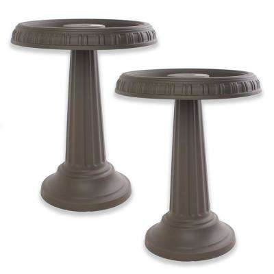 24 in. x 19 in. Peppercorn Grecian All Season Plastic Birdbath/Bird Feeder (2-Pack)