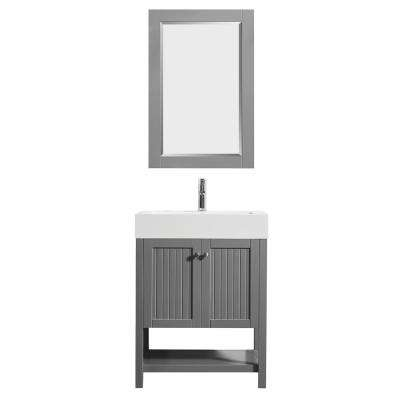 Pavia 28 in. Bath Vanity in Grey with Acrylic Vanity Top in White with White Basin and Mirror