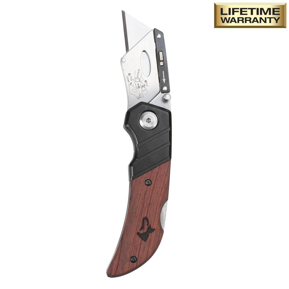 Wood Handle Folding Lock-Back Utility Knife