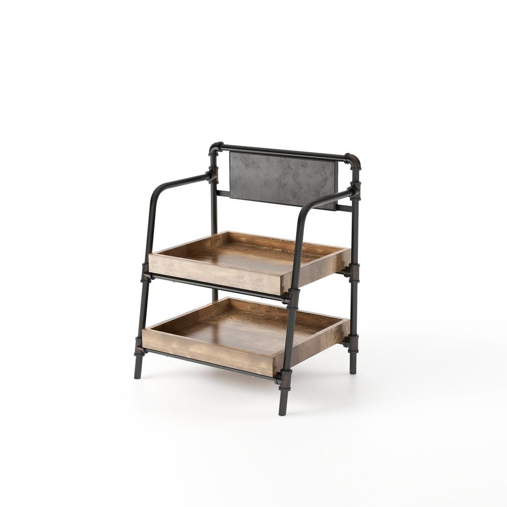 Sabela 35.75 in. H Sand Black 2-Shelf Bookcase