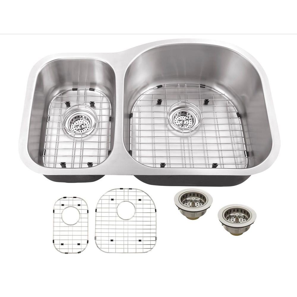 Schon Cues All-in-One Undermount Stainless Steel 32 in. D...