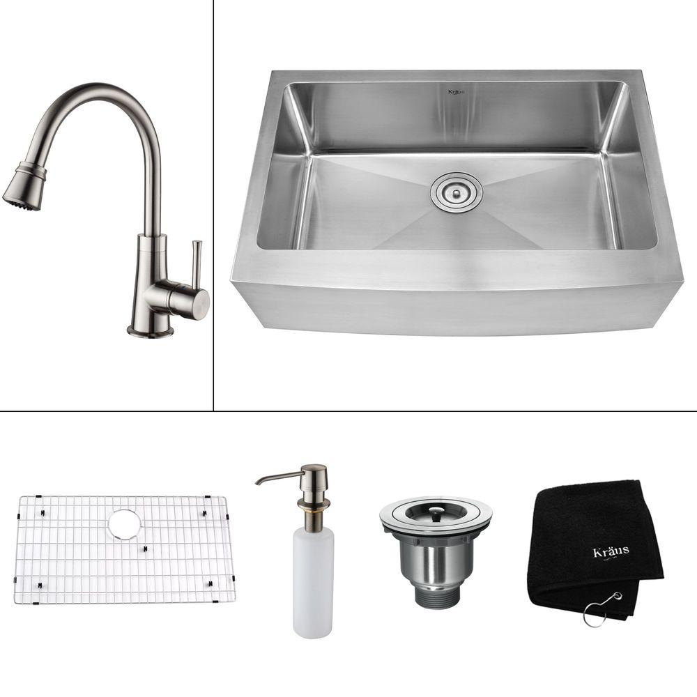 KRAUS All-in-One Farmhouse Apron Front Stainless Steel 35.9 in. 0-Hole Single Bowl Kitchen Sink with Satin Nickel Accessories