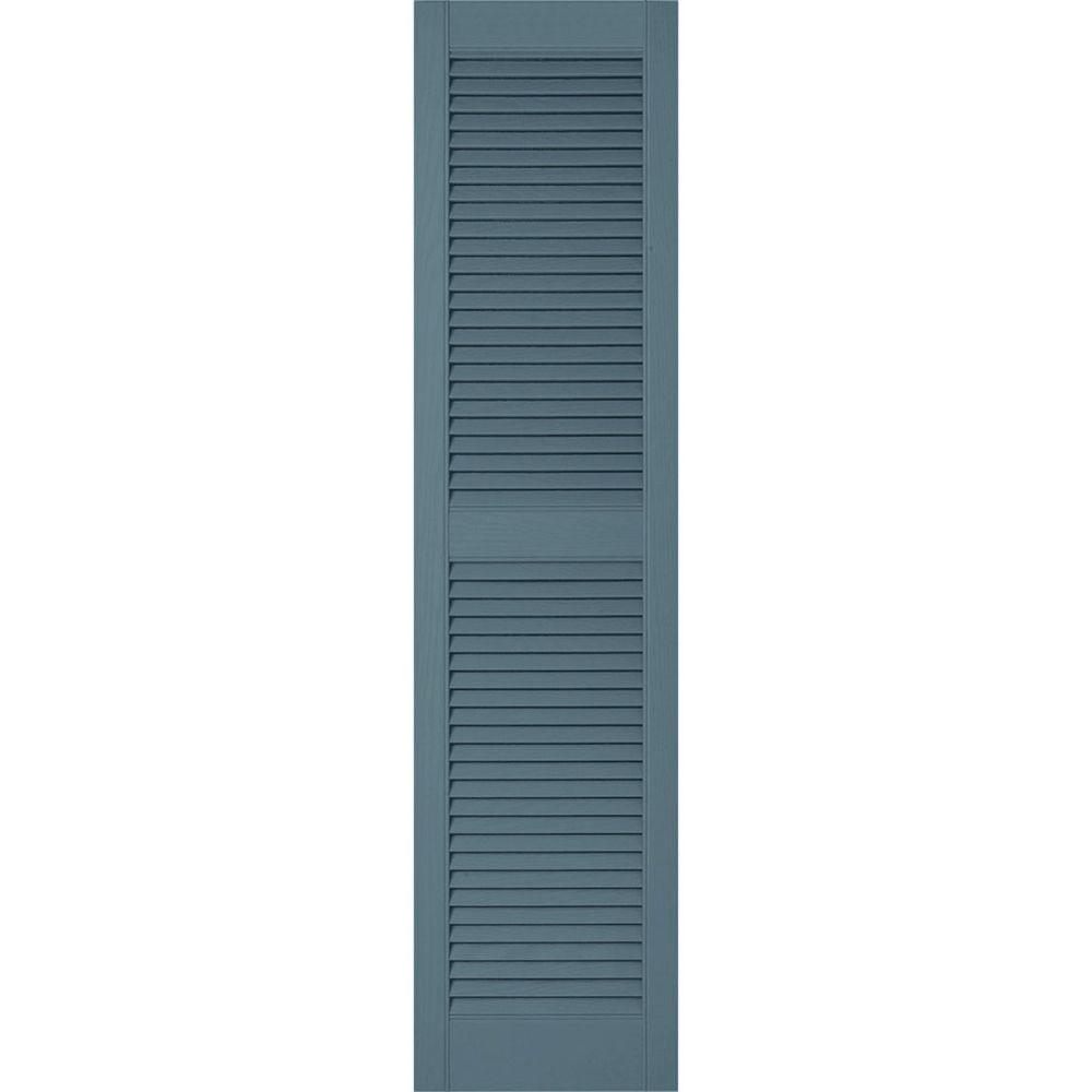 18 in. x 72 in. Lifetime Vinyl Custom Straight Top Center Mullion Open Louvered Shutters Pair Wedgewood Blue