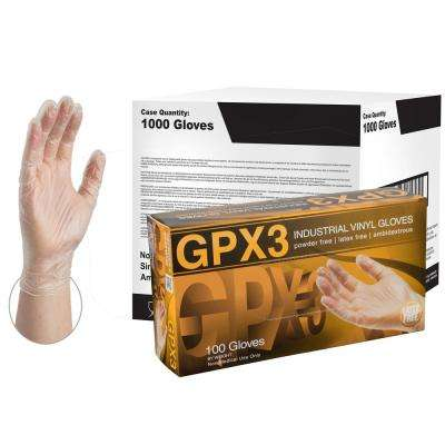 GPX3 Clear Vinyl Industrial Powder-Free Disposable Gloves (10-Boxes of 100-Count) - Medium