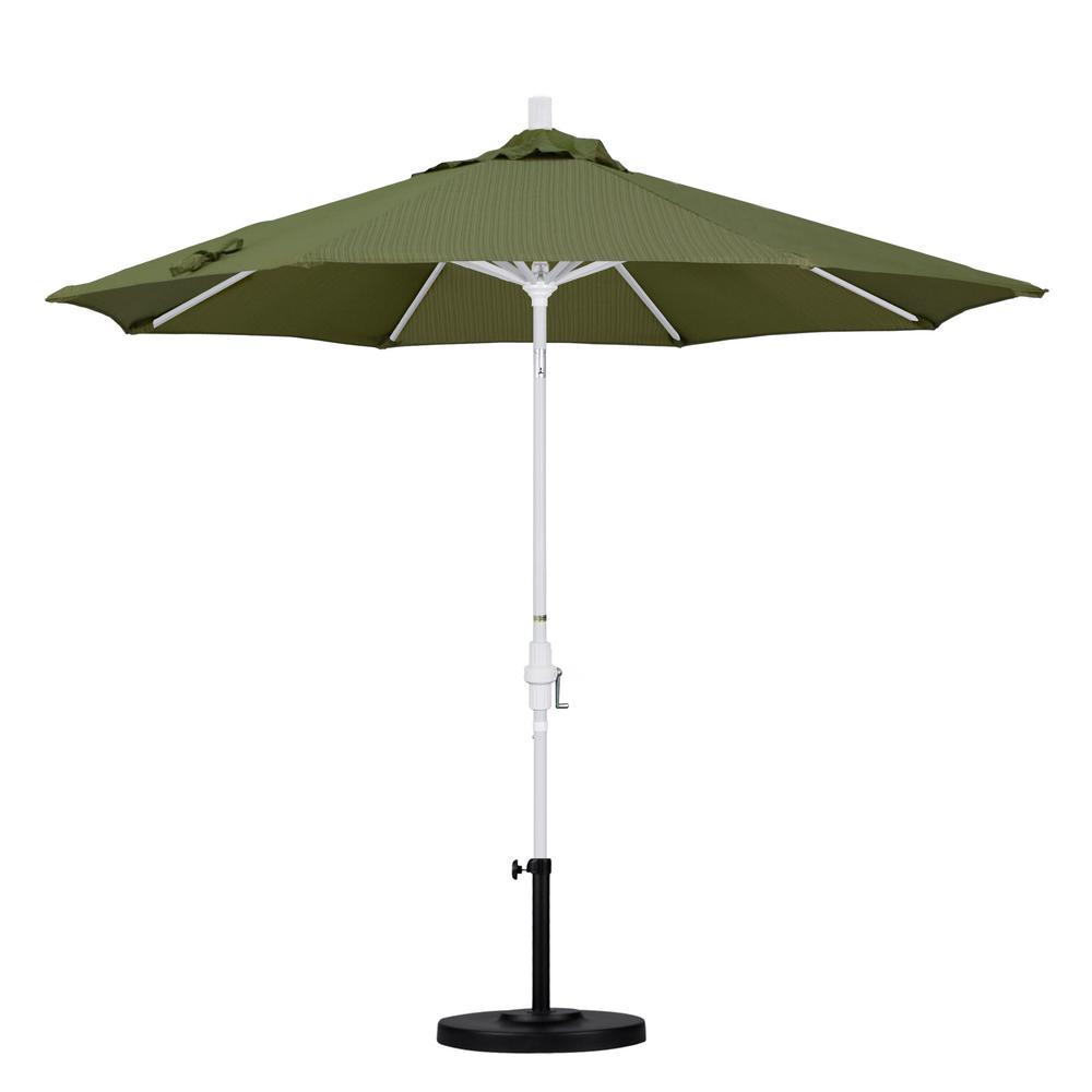 California Umbrella 9 ft. Aluminum Collar Tilt Patio Umbrella in Terrace Fern Olefin