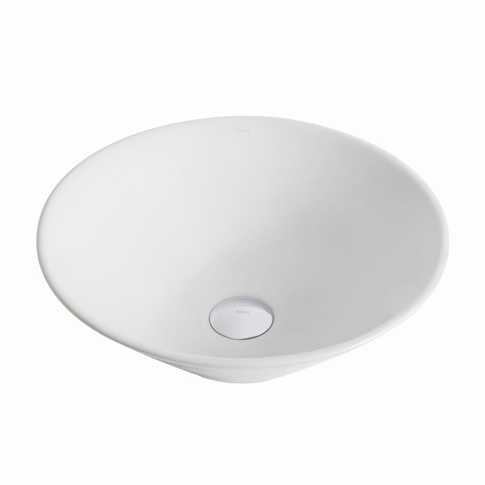 Elavo Round Ceramic Vessel Bathroom Sink in White