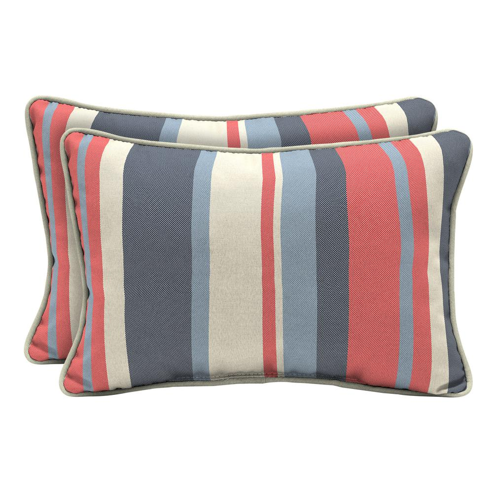 hamptonbay Hampton Bay CushionGuard Ruby Jumbo Stripe Lumbar Outdoor Throw Pillow (2-Pack)