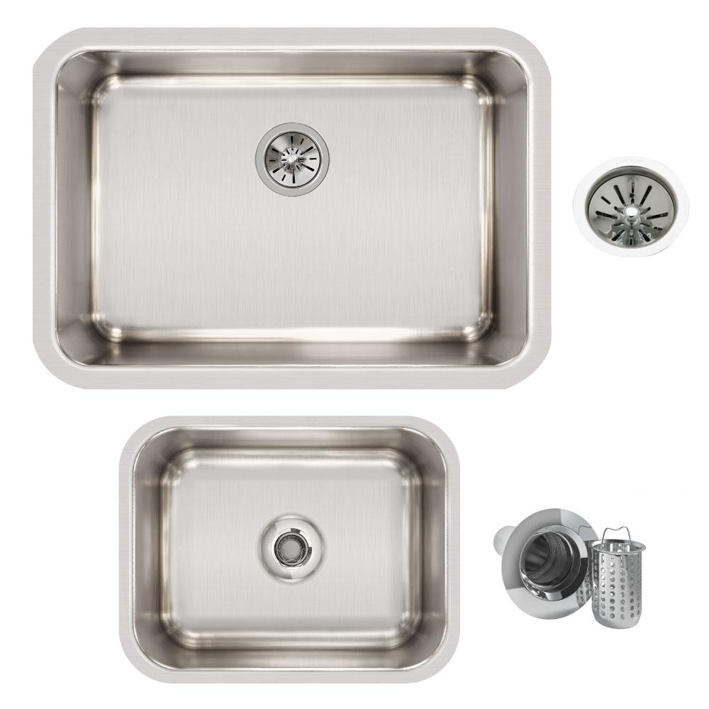 Ertone Undermount Stainless Steel 27 In Single Bowl Kitchen Sink With Bar And Drains