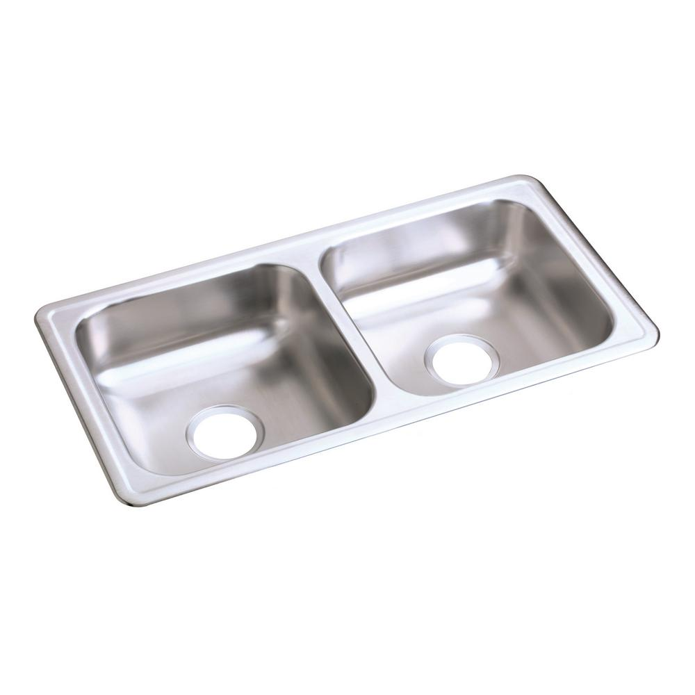 Elkay Dayton Drop-In Stainless Steel 33 in. Double Bowl Kitchen ...