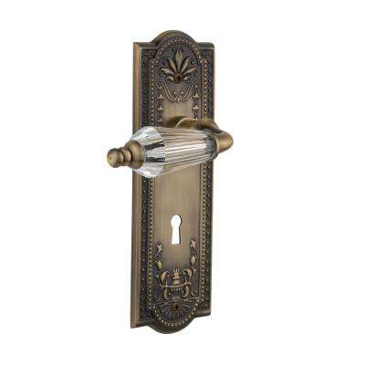 Meadows Plate with Keyhole 2-3/4 in. Backset Antique Brass Passage Hall/Closet Parlor Lever