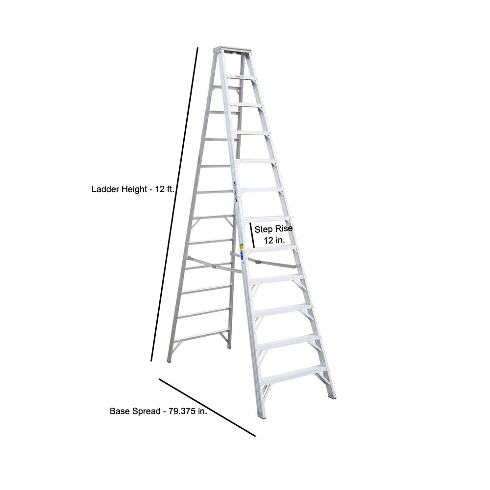 Werner 12 Ft Aluminum Step Ladder With 375 Lb Load Capacity Type Iaa Duty Rating 412 The Home Depot
