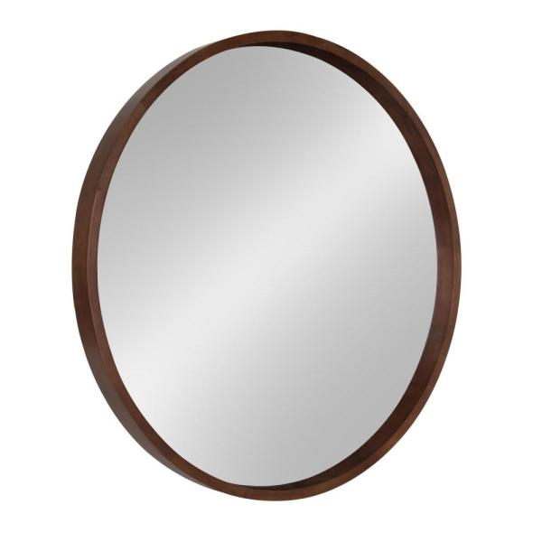 Hutton Round Walnut Brown Mirror