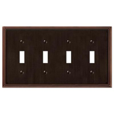 Rhodes 4 Gang Toggle Metal Wall Plate - Aged Bronze