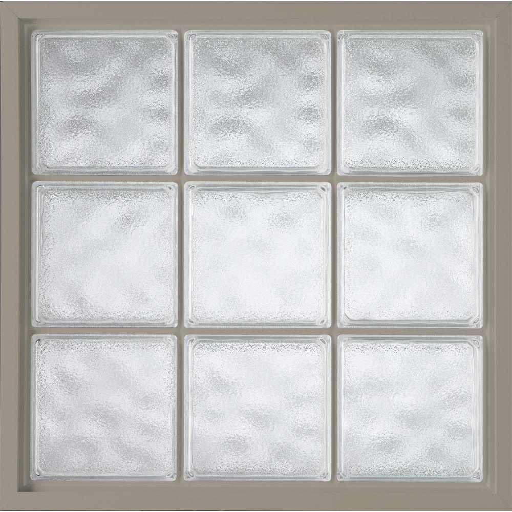 Hy-Lite 42 in. x 42 in. Acrylic Block Fixed Vinyl Window - Driftwood