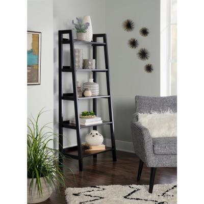 59.84 in. Black Cherry Wood 5-shelf Ladder Bookcase with Open Back