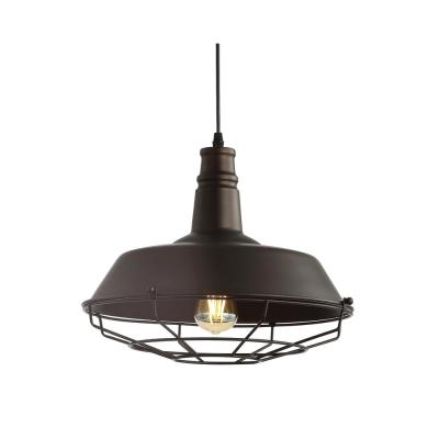 Farmhouse 14.25 in. 1-Light Oil Rubbed Bronze Adjustable Industrial Metal LED Pendant