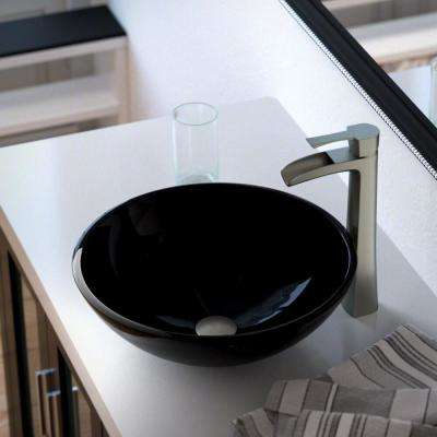 Glass Vessel Sink in Black with 731 Faucet and Pop-Up Drain in Brushed Nickel