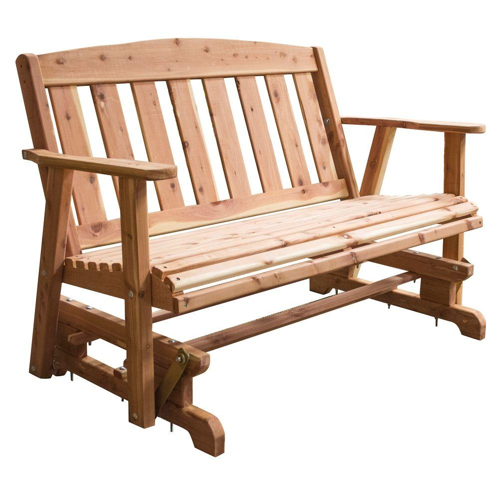 Amerihome Amish Made Unfinished Cedar Patio Glider Bench 801767 The Home Depot