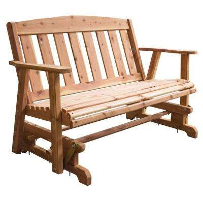 Amish Made Unfinished Cedar Patio Glider Bench