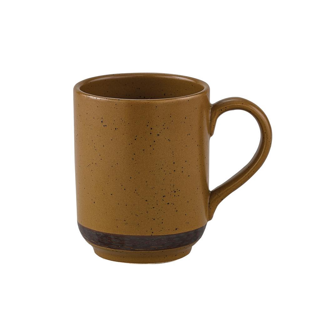 Sawmill 12 oz. Brown Ceramic Coffee Mug (Set of 4)