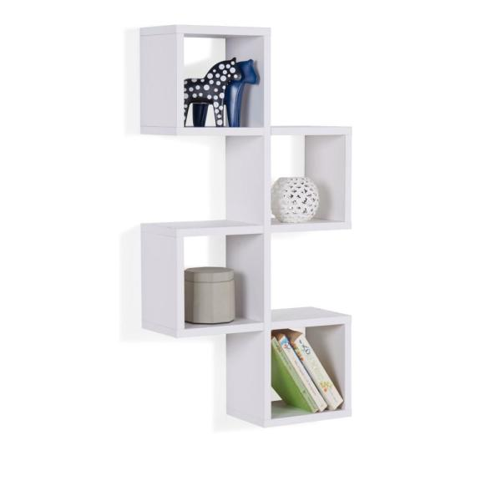 DANYA B White MDF Cubby Chessboard Floating Wall Shelf XF160707WH