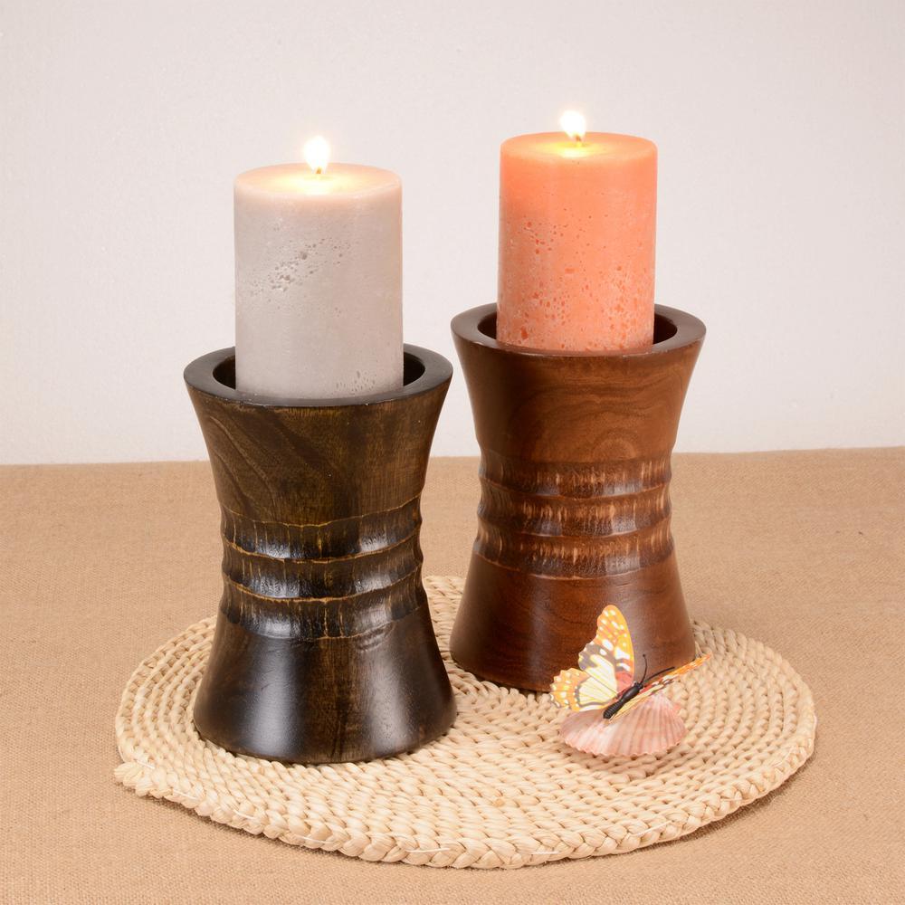 6 in. Brown Decorative Handmade Mango Wood Pillar Candle Holder
