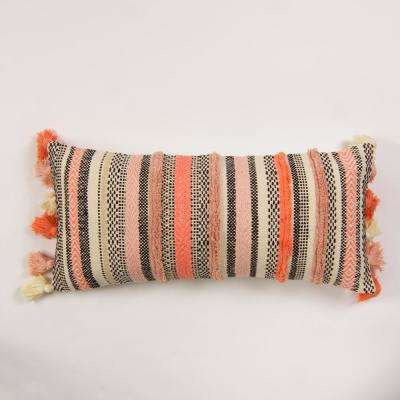 American Colors Coral Striped Down 20 in. x 3In. Throw Pillow