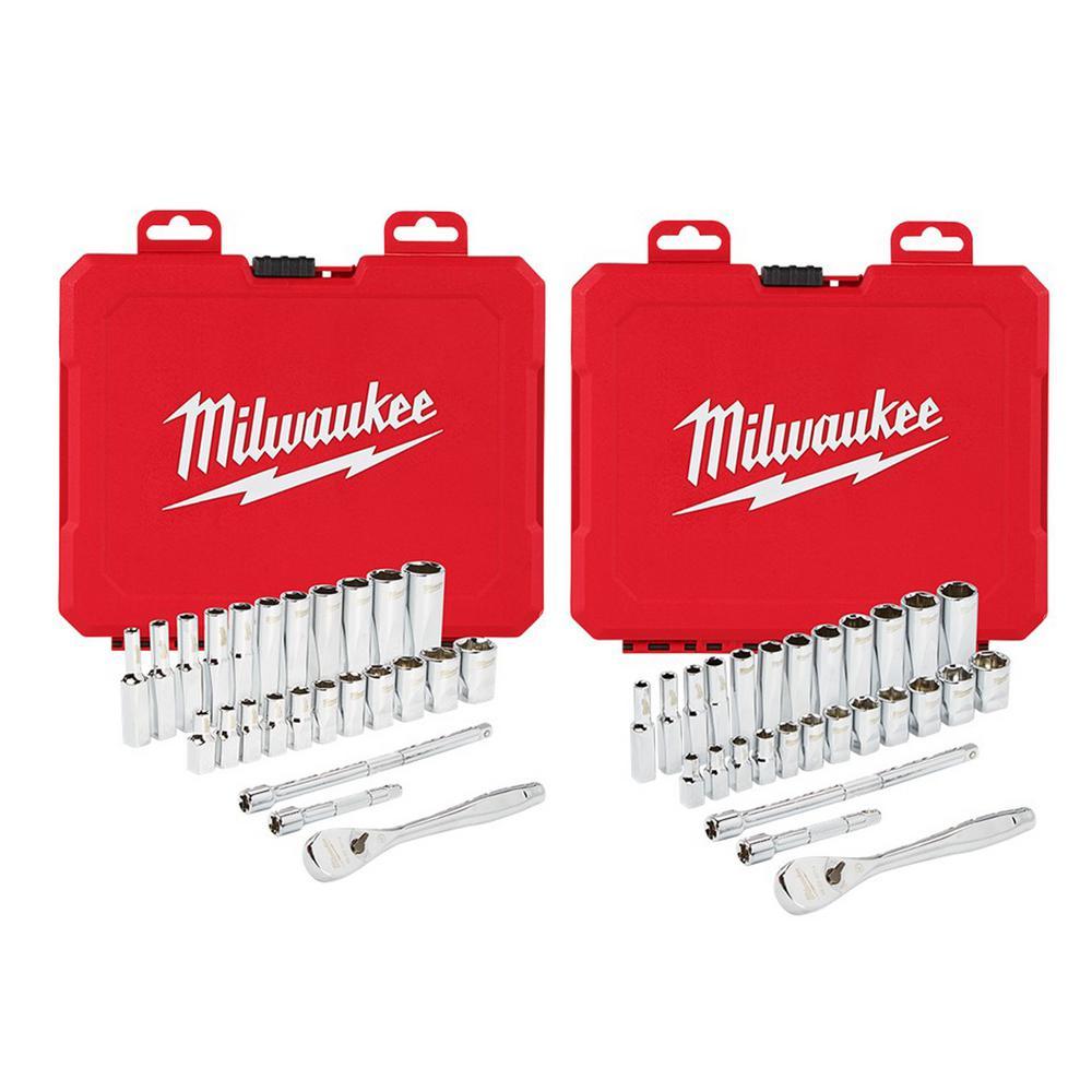 Milwaukee 1/4 in. Drive Ratchet and Socket Mechanics Tool Set 54-Piece Deals