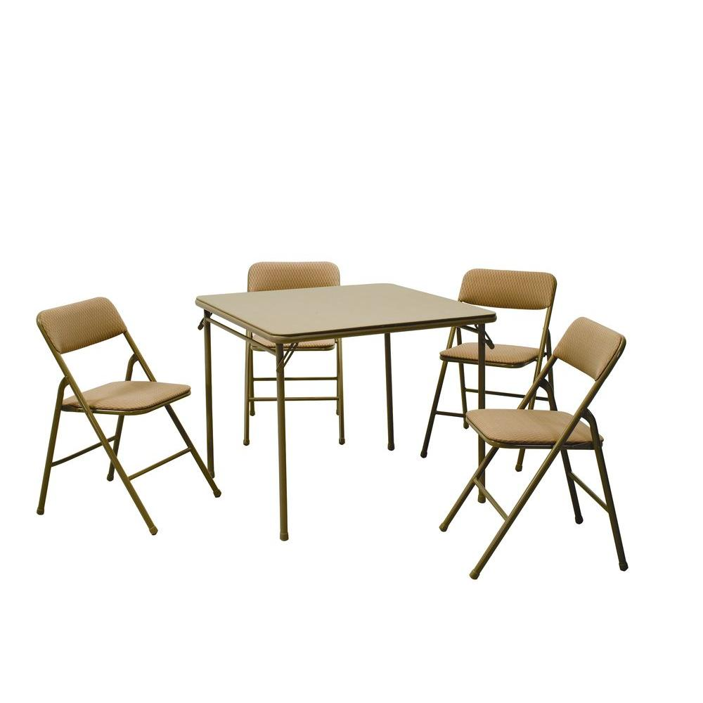 Peachy Cosco 5 Piece Beige Mist Portable Folding Card Table Set Bralicious Painted Fabric Chair Ideas Braliciousco