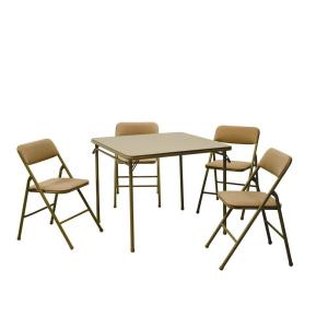 Cosco 5 Piece Folding Table And Chair Set In Beige Mist 14551WHD   The Home  Depot
