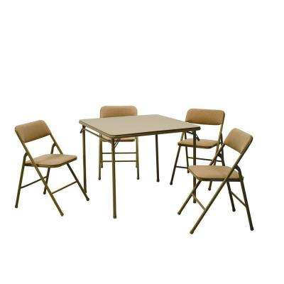 5-Piece Folding Table and Chair Set in Beige Mist